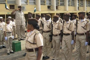Officers of the Nigerian Immigration Service on parade