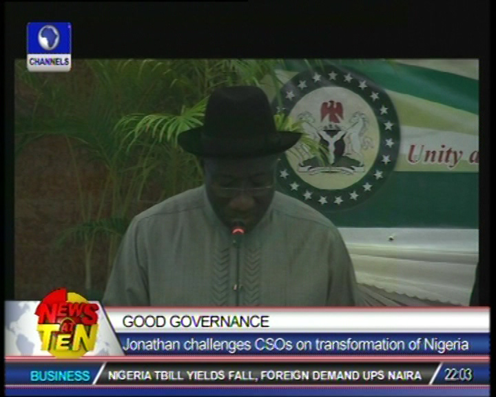 Jonathan charges CSO's on transformation of Nigeria