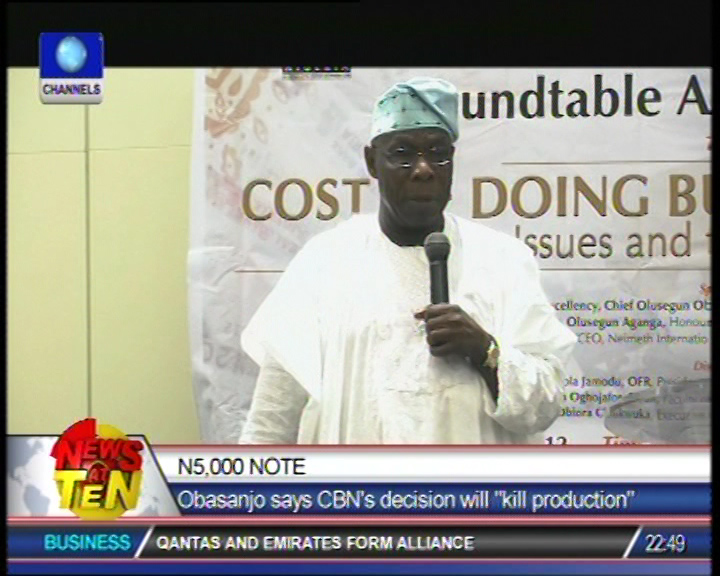 N5,000 Note will kill production says Obasanjo