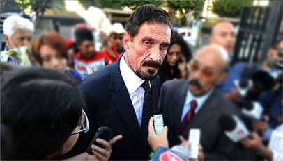 Software guru; McAfee fakes heart attack, likely to face deportation