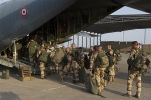 Handout photo of French troops boarding a transport plane in Ndjamena, Chad