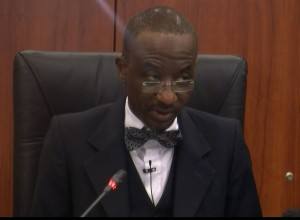 The Governor of the Central Bank of Nigeria (CBN), Sanusi Lamido Sanusi addressing journalist after a Monetary Policy Committee meeting in Abuja on Monday, 21 January 2013