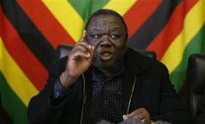 Zimbabwe Prime Minister and leader of the opposition Movement for Democratic Change (MDC) Morgan Tsvangirai speaks at a media conference in Harare