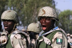 Nigerian soldiers gather during preparations for their deployment to Mali, at the army's peacekeeping centre in Nigeria
