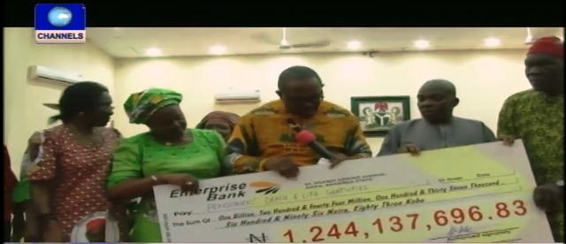 Obi Gives N3b Cheque For Pensioners And Schools Upgrade