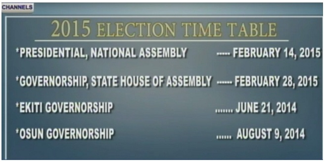 Nigeria's Electoral Commission Releases Time Table for 2015 Elections