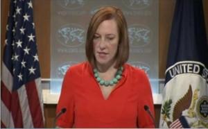 State Department Spokeswoman, Jen Psaki addresses reporters.