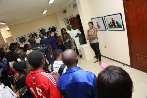 Yetunde Babaeko addressing guests at the exhibition