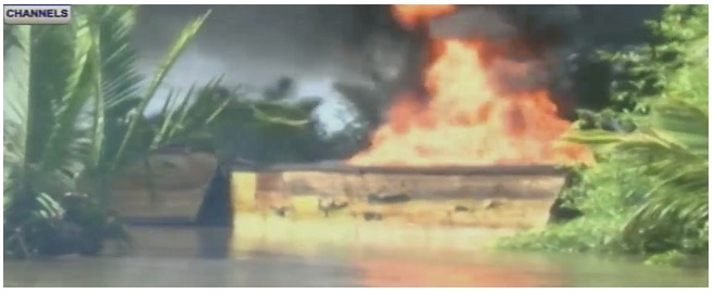 Navy, JTF Destroy Stolen Crude In Nigeria's Bonny Creek