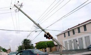 Falling power pole