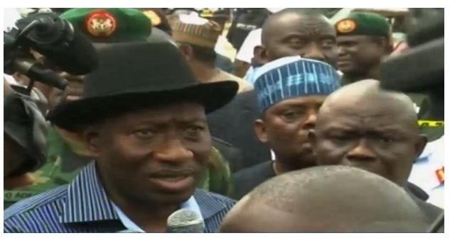 President Jonathan Cancels Trip To Ibadan; Visits Scene Of Blast