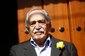 File photo of Garcia Marquez standing outside his house on his 87th birthday in Mexico City