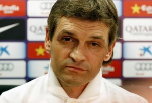 Barcelona's coach Tito Vilanova listens to a question during a news conference after a training session at Ciutat Esportiva Joan Gamper in Sant Joan Despi