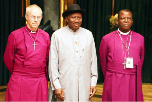 President Jonathan with Welby, Okoh