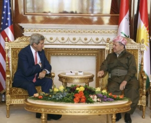 Kurdish Regional Government President Massoud Barzani meets with U.S. Secretary of State John Kerry in Arbil