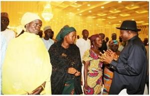 Goodluck Jonathan andabducted Chibok Girls parents