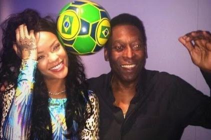 Rihanna Meets Football Legend Pele In Brazil