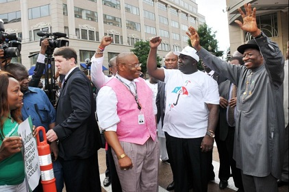 Jonathan Arrives In Washington, Gets Rousing Reception • Channels Television