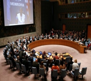 Members of the Security Council attend a meeting on the Ebola crisis at U.N. headquarters in New York