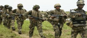 Military fighting terrorists in Sambisa Forest