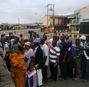 Voters waiting for accreditation exercise in Ward8, Ifako Ijaiye
