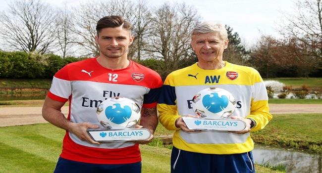 Arsenal's Giroud, Wenger Win Monthly Awards