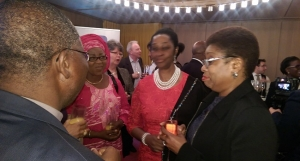 Mrs Olusola Momoh and guests having a chat at the launch of Channels 24