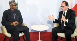 Nigeria Muhammadu Buhari and Francois Hollande of France and Switzerland