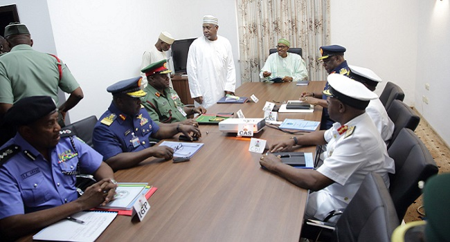 President Buhari Meets Service Chiefs, Receives Briefs On Insurgency War