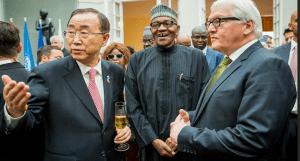 UN Secretary General Mr. Ban Ki Moon, President Muhammadu Buhari and Foreign Minister of Germany, Frank-Walter Steinmeier at the cocktail reception at the Munich residence