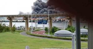 japan fire near haneda airport