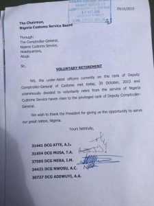 Customs Comproller Generals Resign