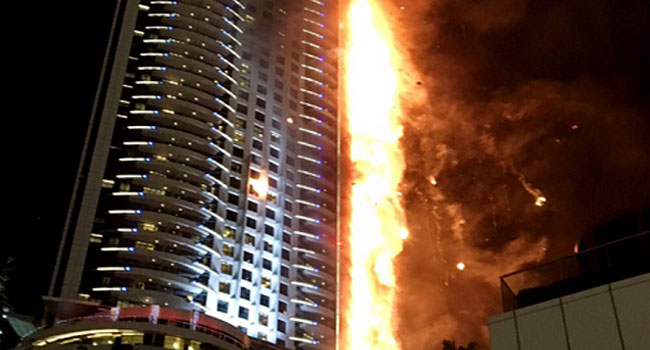 Fire Engulfs Luxury Hotel In Dubai Amidst New Year's Celebration