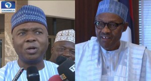 Bukola Saraki and Muhammadu Buhari meet