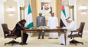 muhammadu buhari and kemi adeosun in UAE