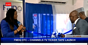 unveiling of the FMDQ OTC-CHANNELS TV Ticker Tape in Lagos