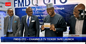 General Manager Special Duties Channels TV, Mr Steve Judo, Managing Director and Chief Executive of the FMDQ OTC Securities Exchange, Mr Onadele Koko, Executive Chairman/ CEO Channels Media Group, Mr. John Momoh, Official from CBN Mr Emmanuel Ukeje