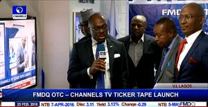 The Managing Director and Chief Executive of the FMDQ OTC Securities Exchange, Mr Onadele Koko giving a brief speech during the unveil