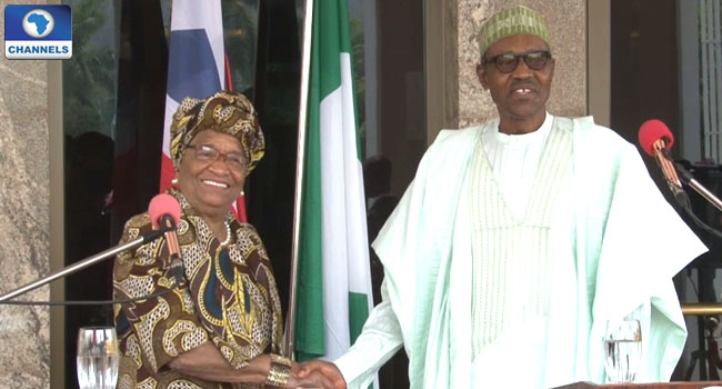 President Buhari, Liberia's Johnson Sirleaf Discuss Regional Security