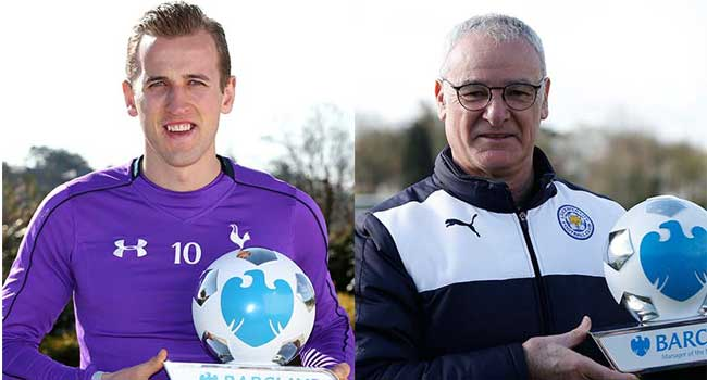 Ranieri, Kane Win Premier League Awards For March