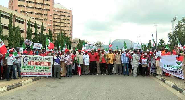 NLC Protest In Abuja Against Hike In Fuel Price