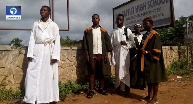 PICTURES: Drama In Osun School As Students Appear In Church Garments