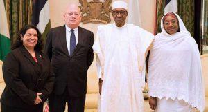 L-R: Deputy Ambassador, Mrs Maria Brewer; H.E. James F. Entwistle, President Buhari and Minister of State Foreign Affairs, Mrs Khadija Bukar Ibrahim.