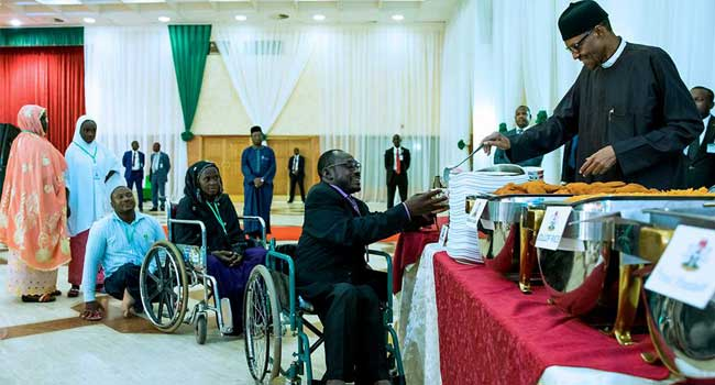 Buhari Breaks Fast With Physically Challenged, Explains Corruption Fight