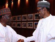 A file photo of President Muhammadu Buhari and former Head of State Yakubu Gowon.