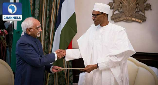 President Buhari receives Indian Vice President Hon. Mohammad Hamid Ansari at the State House