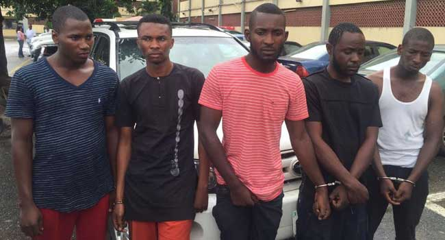 Police Parade Men Suspected To Have Robbed Ogenyi Onazi's Father