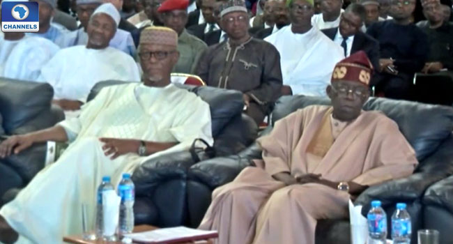 Mr Oyegun and Senator Tinubu sitting side by side