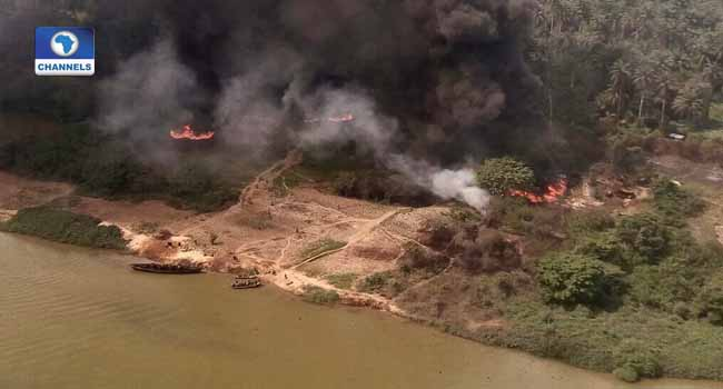 Air Force Destroys Illegal Oil Refineries In Rivers State