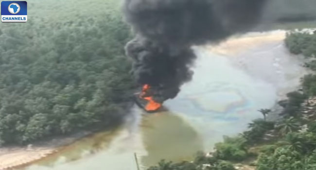 Air Force Destroys Illegal Oil Barges In Rivers State